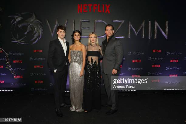 Joey Batey Anya Chalotra Freya Allan and Henry Cavill attend the premiere of the Netflix series The Witcher on December 18 2019 in Warsaw Poland