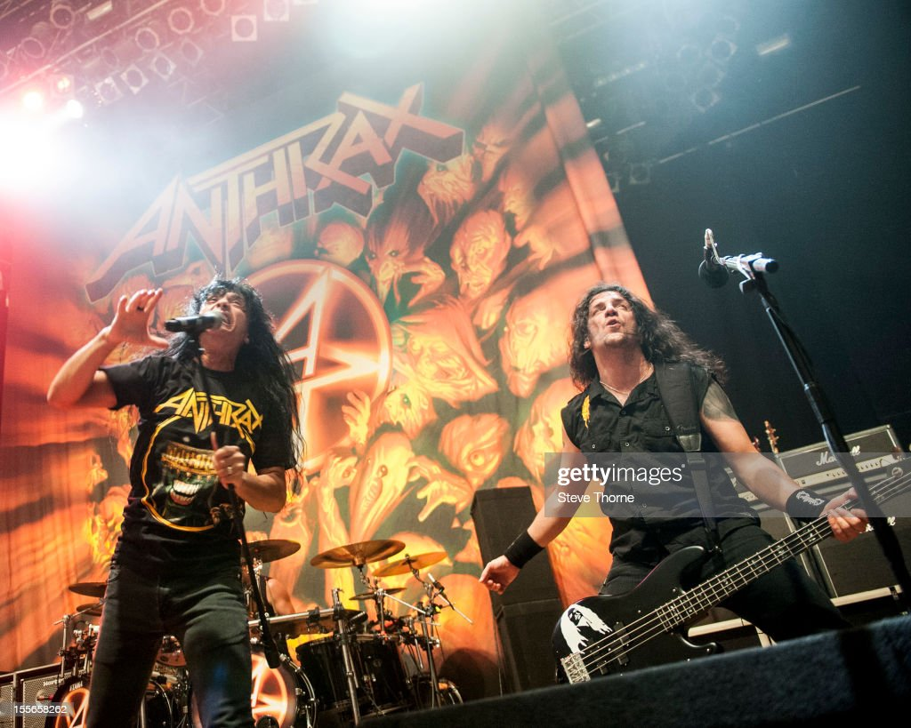 Joey Belladonna and Frank Bello of Anthrax perform on stage at Wolverhampton Civic Hall on November 5, 2012 in Wolverhampton, United Kingdom.