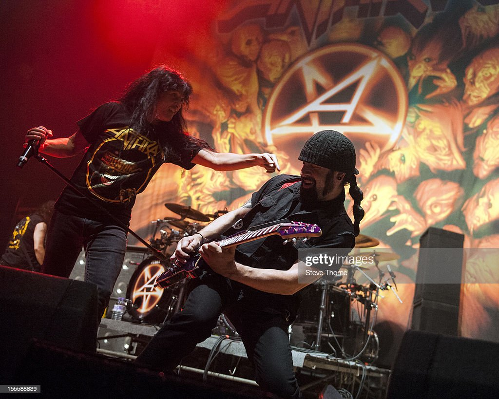 Joey Belladonna and Rob Caggiano of Anthrax perform on stage at Wolverhampton Civic Hall on November 5, 2012 in Wolverhampton, United Kingdom.