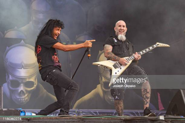 Joey Belladonna and Scott Ian from Anthrax performs on stage during day 3 of Download festival 2019 at Donington Park on June 16 2019 in Castle...