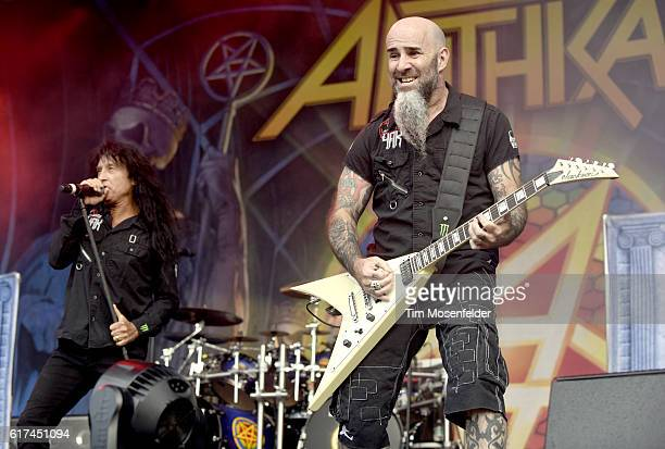 Joey Belladonna and Scott Ian of Anthrax perform during the Aftershock Festival at Discovery Park on October 22 2016 in Sacramento California