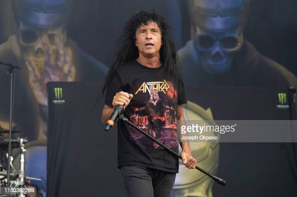 Joey Belladonna from Anthrax performs on stage during day 3 of Download festival 2019 at Donington Park on June 16 2019 in Castle Donington England