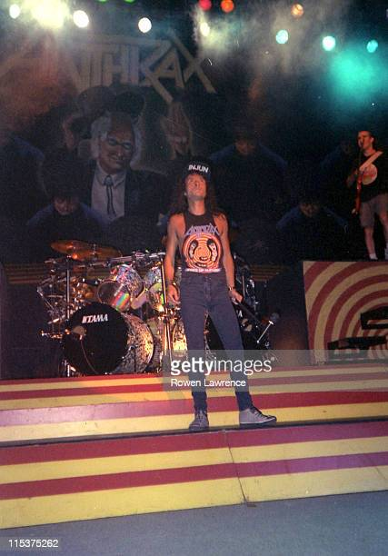 Joey Belladonna of Anthrax during Anthrax and King's X in Concert at Nottingham Royal Centre June 17 1989 at Nottingham Royal Centre in Nottingham...