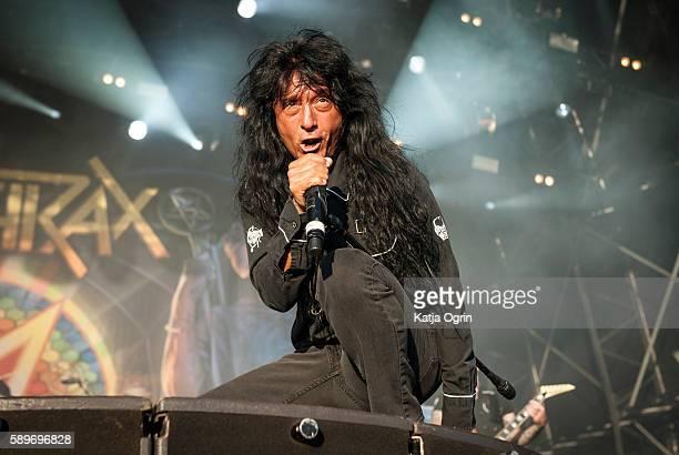 Joey Belladonna of Anthrax performing live at Bloodstock Festival at Catton Park on August 14, 2016 in Burton upon Trent, England.