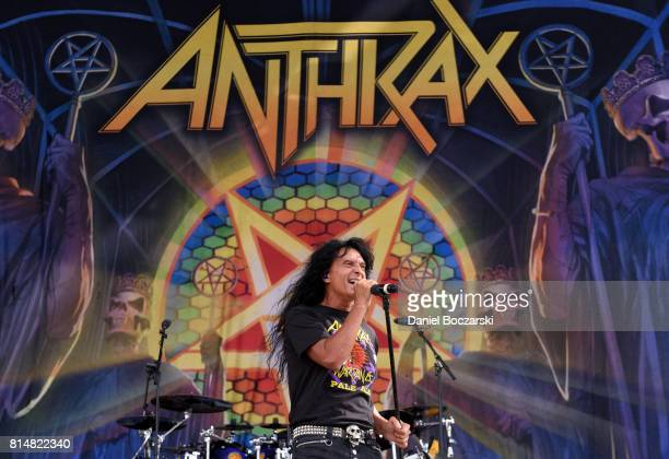 Joey Belladonna of Anthrax performs during the 2017 Chicago Open Air Festival at Toyota Park on July 14 2017 in Bridgeview Illinois