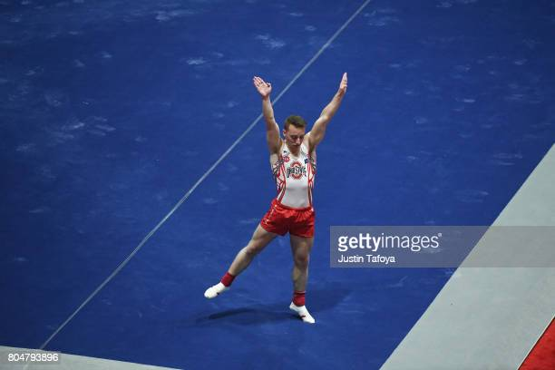 Joey Bonanno of Ohio State University competes in Floor Exercise during the Division I Men's Gymnastics Championship held at the Holleder Center on...