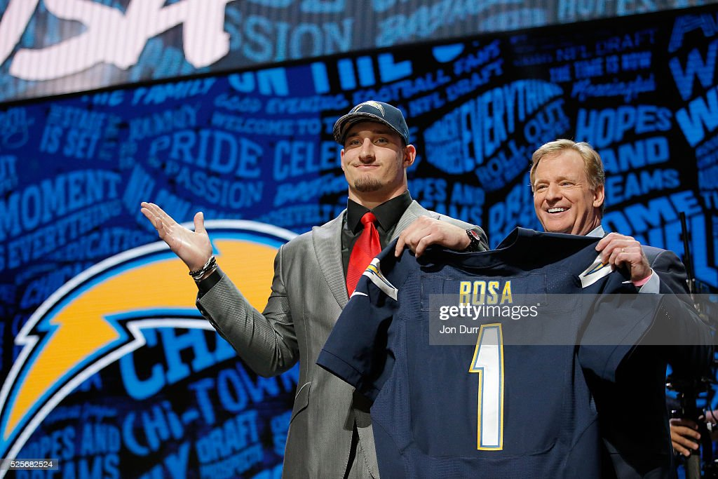 Joey Bosa of Ohio State holds up a jersey with NFL Commissioner Roger Goodell after being picked #3 overall by the San Diego Chargers during the first round of the 2016 NFL Draft at the Auditorium Theatre of Roosevelt University on April 28, 2016 in Chicago, Illinois.