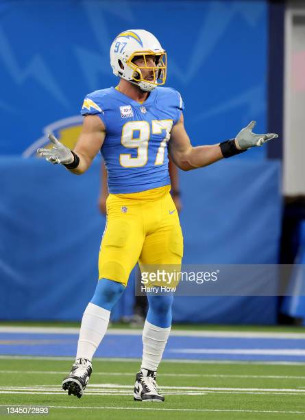 Joey Bosa of the Los Angeles Chargers celebrates his play during a 28-14 win over the Las Vegas Raiders at SoFi Stadium on October 04, 2021 in...