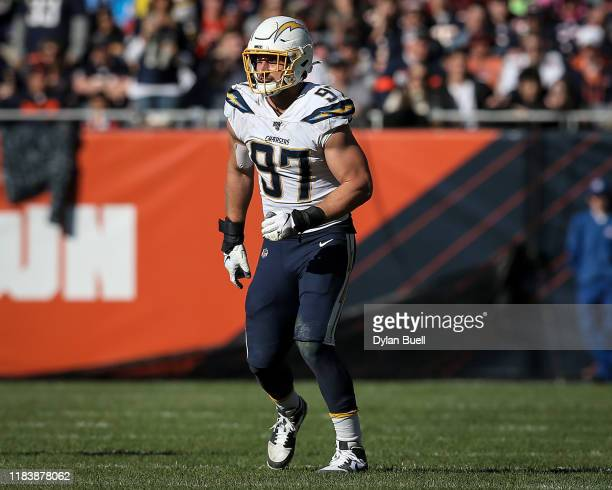 Joey Bosa of the Los Angeles Chargers in action in the fourth quarter against the Chicago Bears at Soldier Field on October 27, 2019 in Chicago,...