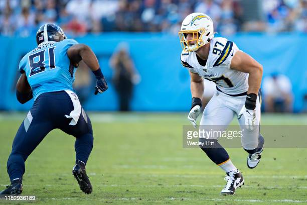 Joey Bosa of the Los Angeles Chargers rushes the quarterback during a game against the Tennessee Titans at Nissan Stadium on October 20, 2019 in...