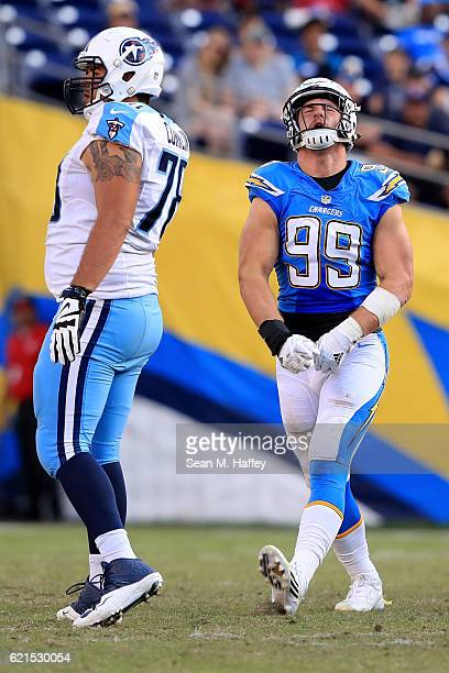 Joey Bosa of the San Diego Chargers reacts to an off sides penalty during the second half of a game against the Tennessee Titans at Qualcomm Stadium...