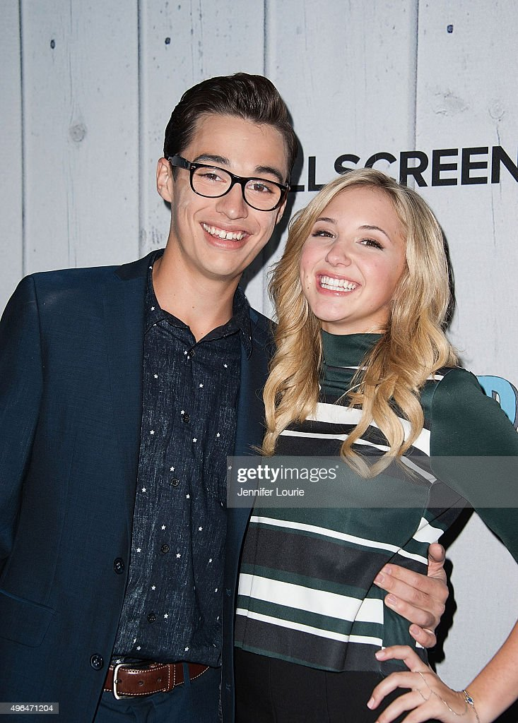 Joey Bragg and Audrey Whitby arrives at the Fullscreen Films presents Premiere of 'The Outfield' at AMC CityWalk Stadium 19 at Universal Studios Hollywood on November 9, 2015 in Universal City, California.