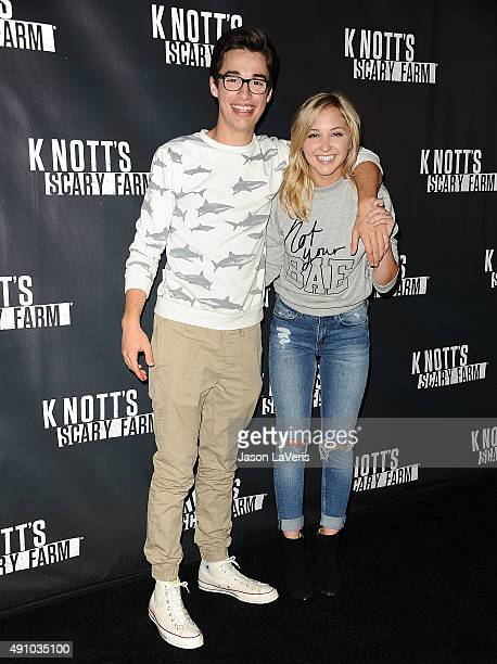 Joey Bragg and Audrey Whitby attend the Knott's Scary Farm black carpet at Knott's Berry Farm on October 1 2015 in Buena Park California