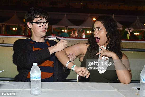 Joey Bragg and Jessica Marie Garcia of Disney's 'Liv And Maddie' visit The Queen Mary's CHILL at Queen Mary Beach on December 8 2015 in Long Beach...