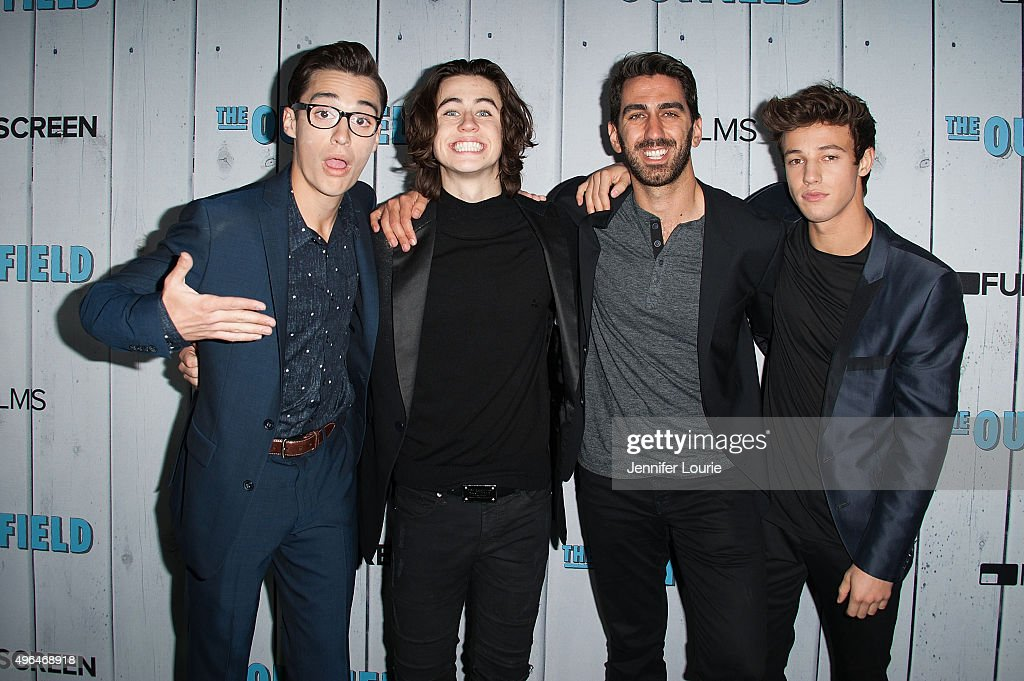 Joey Bragg, Nash Grier, George Strompolos and Cameron Dallas arrive at the Fullscreen Films presents the premiere of 'The Outfield' at AMC CityWalk Stadium 19 at Universal Studios Hollywood on November 9, 2015 in Universal City, California.