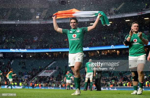 Joey Carbery of Ireland celebrates after their victory during the NatWest Six Nations match between England and Ireland at Twickenham Stadium on...