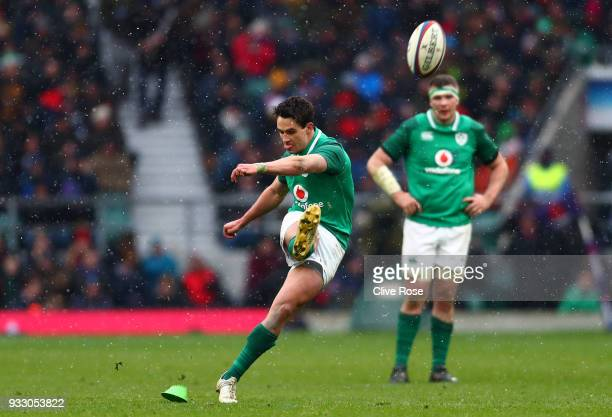 Joey Carbery of Ireland kicks during the NatWest Six Nations match between England and Ireland at Twickenham Stadium on March 17 2018 in London...