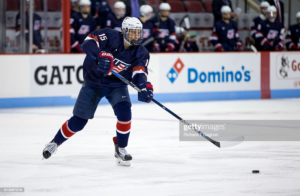 Joey Cassetti #15 of the U.S. National Under-18 Team skates against the Boston University Terriers during NCAA exhibition hockey at Agganis Arena on October 6, 2016 in Boston, Massachusetts. The Terriers won 8-2.