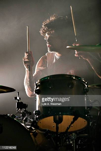 Joey Castillo of Queens of the Stone Age performs at the Riviera Theatre on April 1, 2011 in Chicago, Illinois.