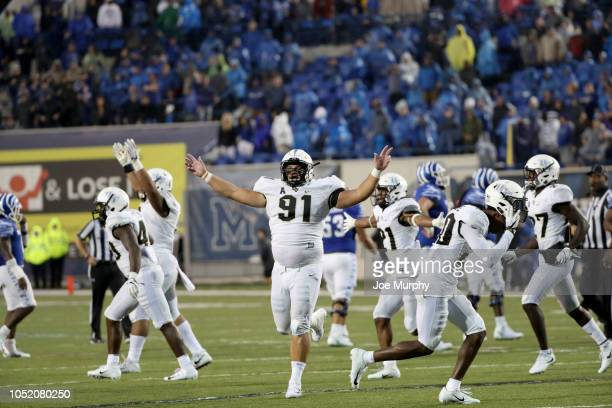 Joey Connors of the Central Florida Knights celebrates at the end of the game against the Memphis Tigers on October 13 2018 at Liberty Bowl Memorial...