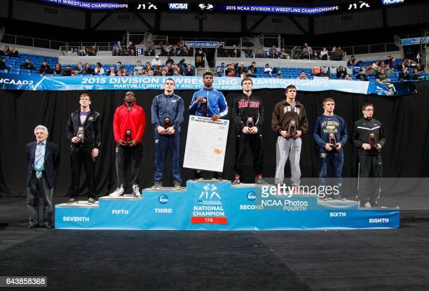 Joey Davis of Notre Dame wins the 174lb class during the Division II Men's Wrestling Championship held at Chaifetz Arena on March 14 2015 in St Louis...