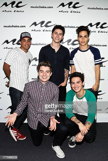 Joey Diggs Jr Colton Rudloff Eric Secharia Thomas Augusto and Anthony Ladao of Midnight Red visit Music Choice on August 20 2013 in New York City