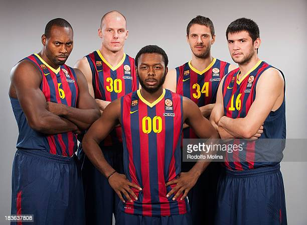 Joey Dorsey #6 Maciej Lampe Jacob Pullen #00 Bostjan Nachbar #34 and Kostas Papanikolau #16 poses during the FC Barcelona 2013/14 Turkish Airlines...