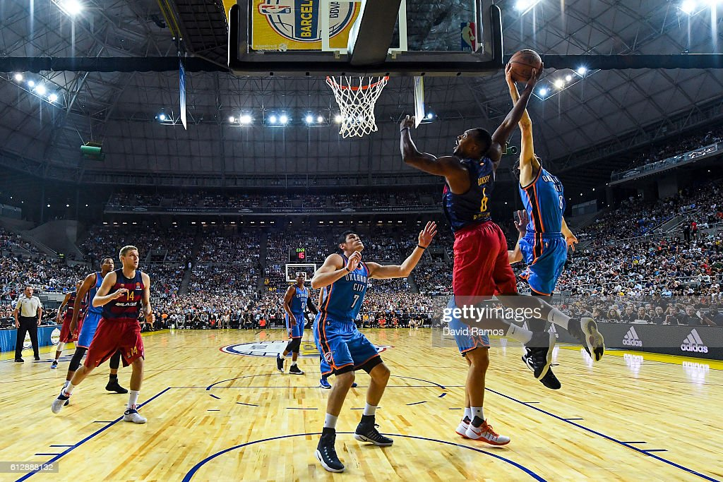 Joey Dorsey #6 of FC Barcelona Lassa has his shot blocked against the Oklahoma City Thunder during a NBA Global Games Spain 2016 match at Palau Sant Jordi on October 5, 2016 in Barcelona, Spain.
