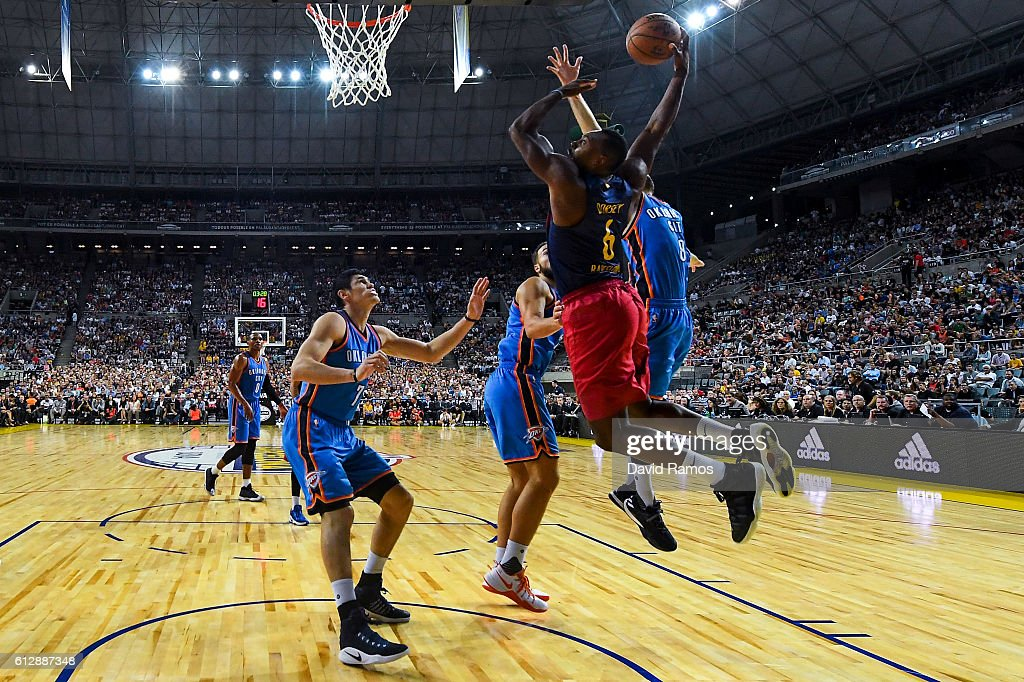 Joey Dorsey of Oklahoma City Thunder dunks the ball during the NBA Global Games Spain 2016 match between FC Barcelona Lassa and Oklahoma City Thunder at Palau Sant Jordi on October 5, 2016 in Barcelona, Spain.