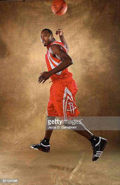 Joey Dorsey of the Houston Rockets poses for a portrait during the 2008 NBA Rookie Photo Shoot on July 29, 2008 at the MSG Training Facility in...