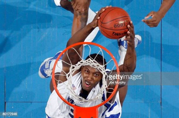 Joey Dorsey of the Memphis Tigers goes up for a two-handed dunk against the UAB Blazers at FedExForum on February 23, 2008 in Memphis, Tennessee....