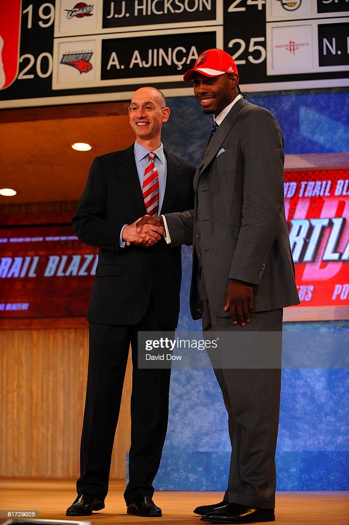 Joey Dorsey selected number thirty-three overall by the Portland Trailblazers shakes NBA Deputy Commissioner Adam Silver's hand during the 2008 NBA Draft at the WaMu Theatre at Madison Square Garden June 26, 2008 in New York City.