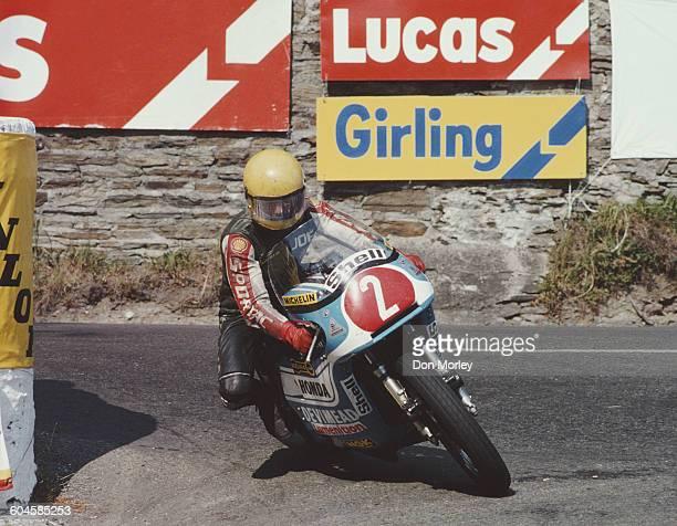 Joey Dunlop of Great Britain rides the Honda 812cc during the International Isle of Man Formula 1 TT Race on 1 June 1978 Douglas on the Isle of Man...