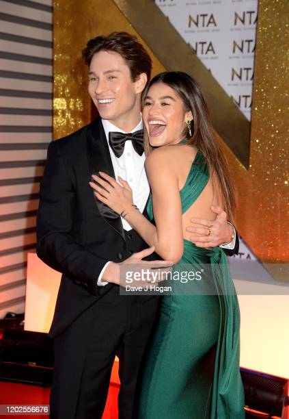 Joey Essex and Lorena Medina attend the National Television Awards 2020 at The O2 Arena on January 28, 2020 in London, England.
