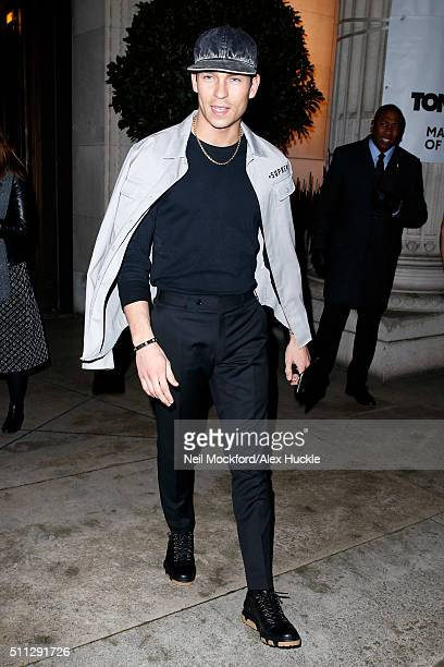 Joey Essex seen leaving the the A/W 16 David Ferreira Catwalk Show at the Freemason's Hall on February 19 2016 in London England