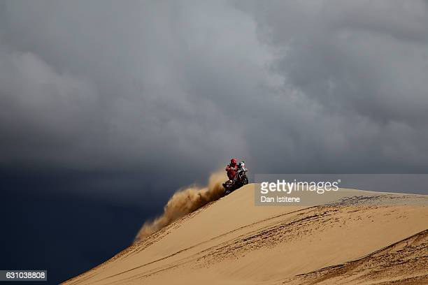 Joey Evans of South Africa and KTM BAS Dakar rides a 450 Rally KTM bike in the Classe 21 Super Production during stage four of the 2017 Dakar Rally...