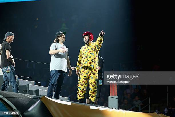 Joey Fatone and Brian Quinn perform at Impractical Jokers Live Nitro Circus Spectacular at Prudential Center on November 3 2016 in Newark New Jersey...