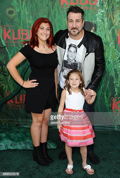Joey Fatone and daughters Briahna Joely Fatone and Kloey Alexandra Fatone attend the premiere of Kubo and the Two Strings at AMC Universal City Walk...