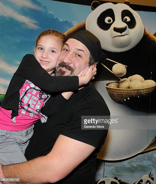 Joey Fatone and his daughter Kloey Alexandra attend Kung Fu Panda 3 premiere at AMC Disney Springs Movie Theater on January 16 2016 in Lake Buena...