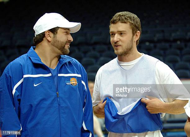 Joey Fatone and Justin Timberlake during *NSYNC's Challenge for the Children VII Celebrity Basketball Game at Allstate Arena in Chicago Illinois...