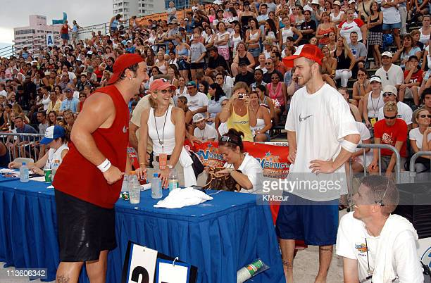 Joey Fatone and Justin Timberlake during *NSYNC's Challenge for the Children V Celebrity Skills Challenge at Collins Park in Miami Beach Florida...