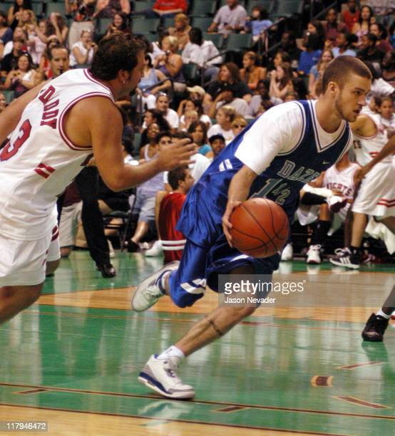 Joey Fatone and Justin Timberlake during *NSYNC's Challenge for the Children V Game at Office Depot Center in Fort Lauderdale Florida United States