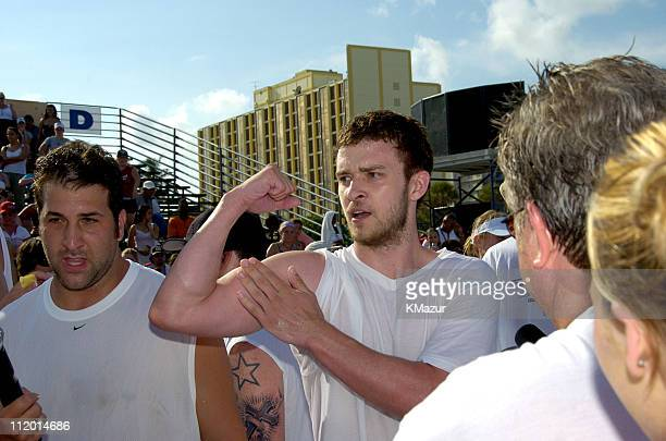 Joey Fatone and Justin Timberlake during *NSYNC's Challenge for the Children VI Day 2 Skills Challenge at Miami Beach in Miami Florida United States