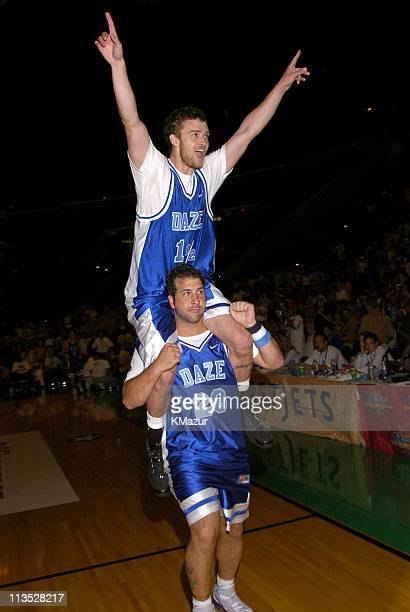 Joey Fatone and Justin Timberlake during *NSYNC's Challenge for the Children VI Day 3 Basketball Game at Office Depot Center in Sunrise Florida...