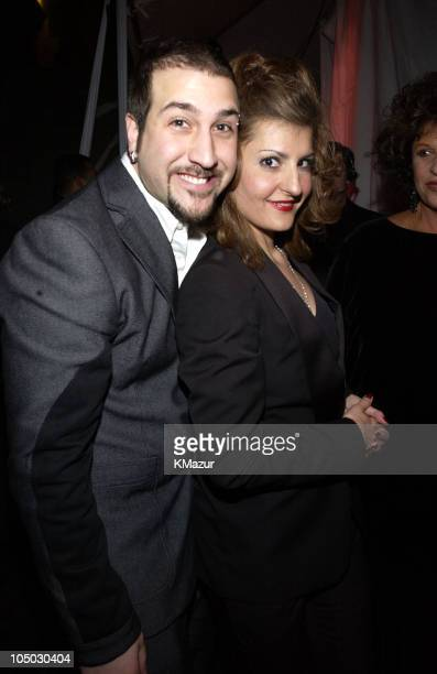 Joey Fatone and Nia Vardalos during The 29th Annual People's Choice Awards - Backstage and Audience at Pasadena Civic Auditorium in Pasadena,...