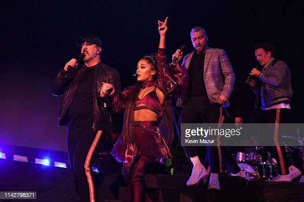 Joey Fatone Ariana Grande Lance Bass and JC Chasez perform on Coachella Stage during the 2019 Coachella Valley Music And Arts Festival on April 14...