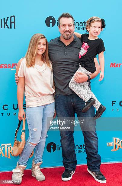 Joey Fatone arrives at the premiere of Premiere Of Focus Features' The Boxtrolls at Universal CityWalk on September 21 2014 in Universal City...