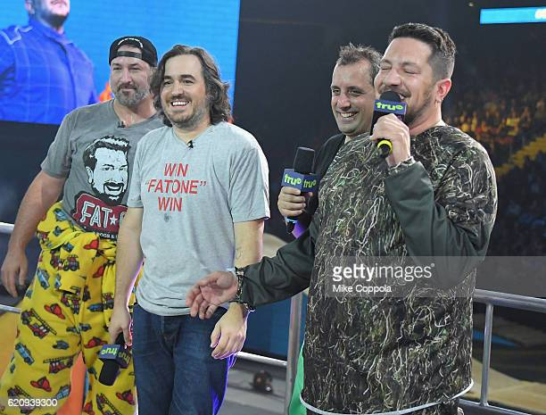 Joey Fatone Brian Quinn Joe Gatto and Sal Vulcano attends the Impractical Jokers Live Nitro Circus Spectacular at Prudential Center on November 3...