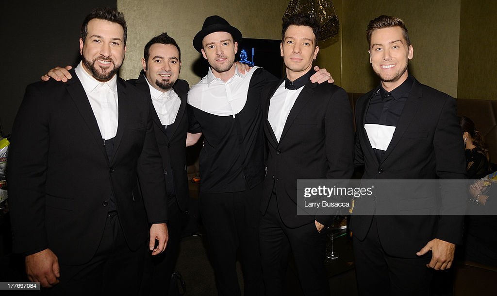 Joey Fatone, Chris Kirkpatrick, Justin Timberlake, JC Chasez and Lance Bass of N'Sync attend the 2013 MTV Video Music Awards at the Barclays Center on August 25, 2013 in the Brooklyn borough of New York City.