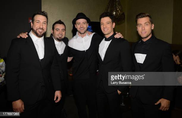 Joey Fatone Chris Kirkpatrick Justin Timberlake JC Chasez and Lance Bass of N'Sync attend the 2013 MTV Video Music Awards at the Barclays Center on...
